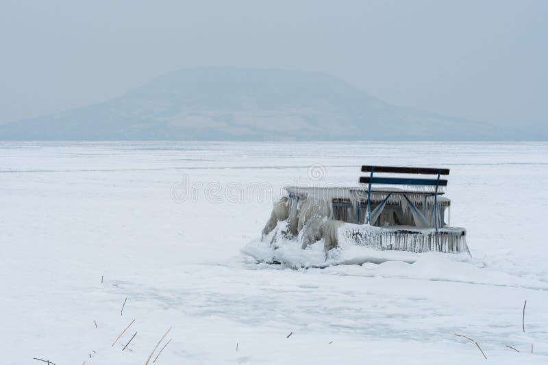 Embarcadero congelado en la orilla fotografía de archivo libre de regalías
