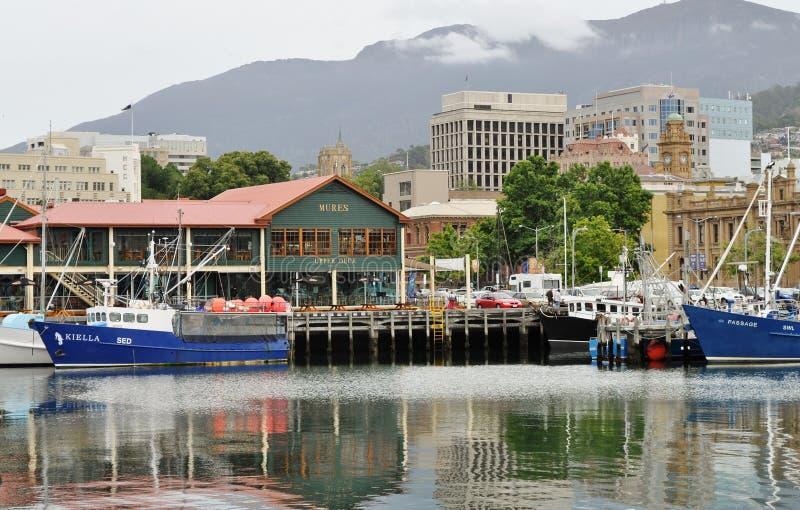 Embarcadero de Franklin en Hobart, Australia imagenes de archivo