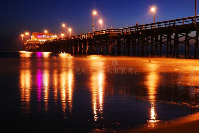 Embarcadero de la playa de Newport, puesta del sol fotografía de archivo