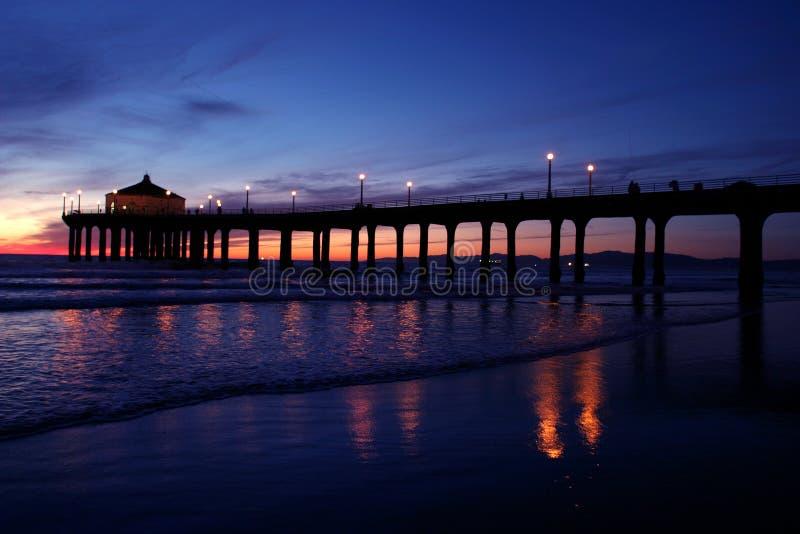 Embarcadero de la puesta del sol fotografía de archivo