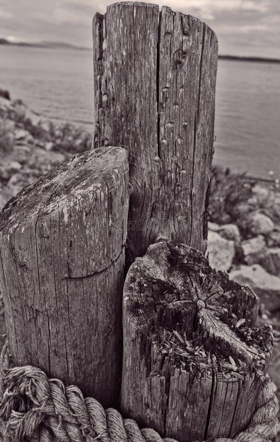 Embarcadero de madera en Sidney, isla de Vancouver, Canadá foto de archivo