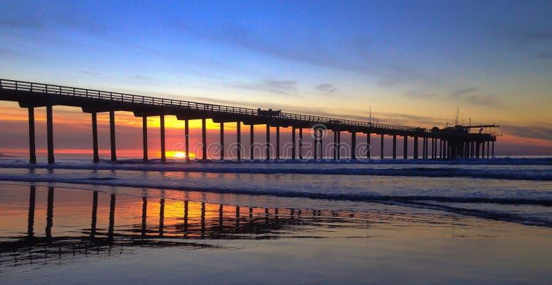 Embarcadero de Scripps en la puesta del sol imagen de archivo libre de regalías