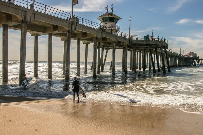 Embarcadero del Huntington Beach, Condado de Orange, CA fotos de archivo libres de regalías