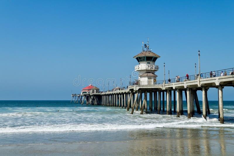 Embarcadero del Huntington Beach en un día soleado foto de archivo