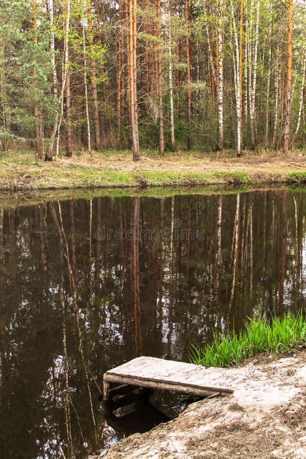 Embarcadero en un río tranquilo fotografía de archivo libre de regalías