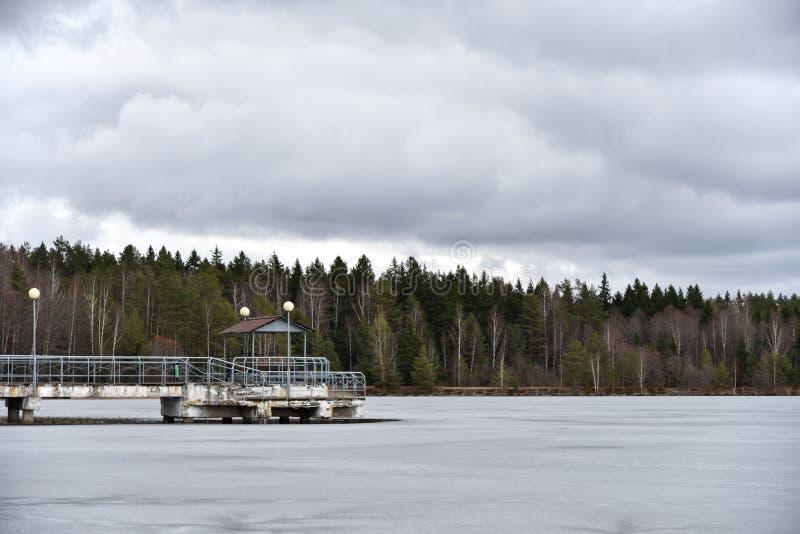 Embarcadero viejo en un lago congelado, primavera, invierno, naturaleza, parque fotografía de archivo