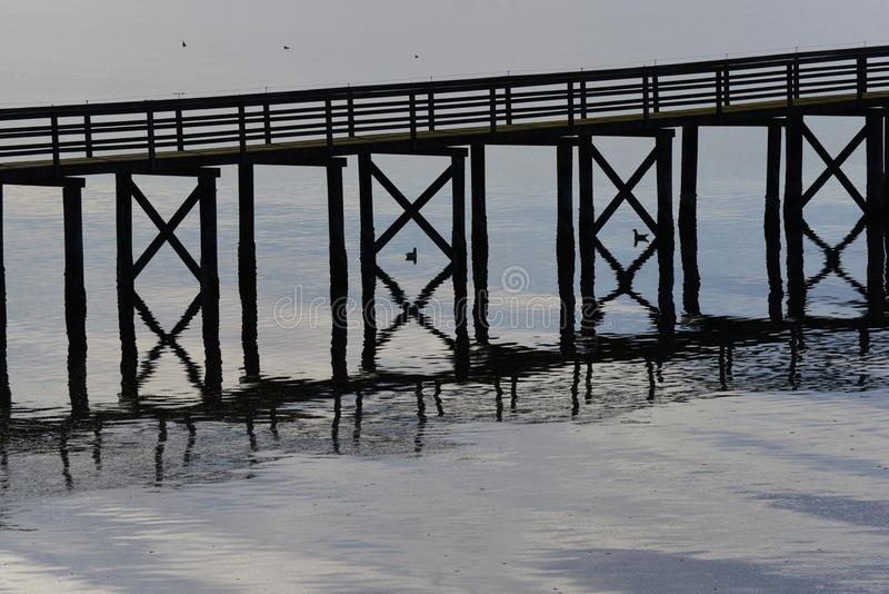 Embarcadero y patos en silueta foto de archivo