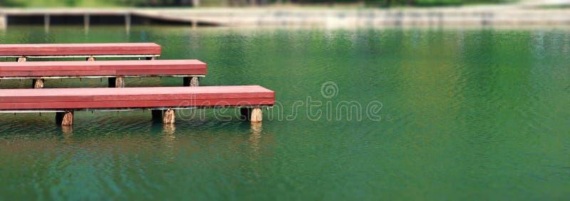 Embarcaderos de madera de los muelles en el lago del parque imágenes de archivo libres de regalías