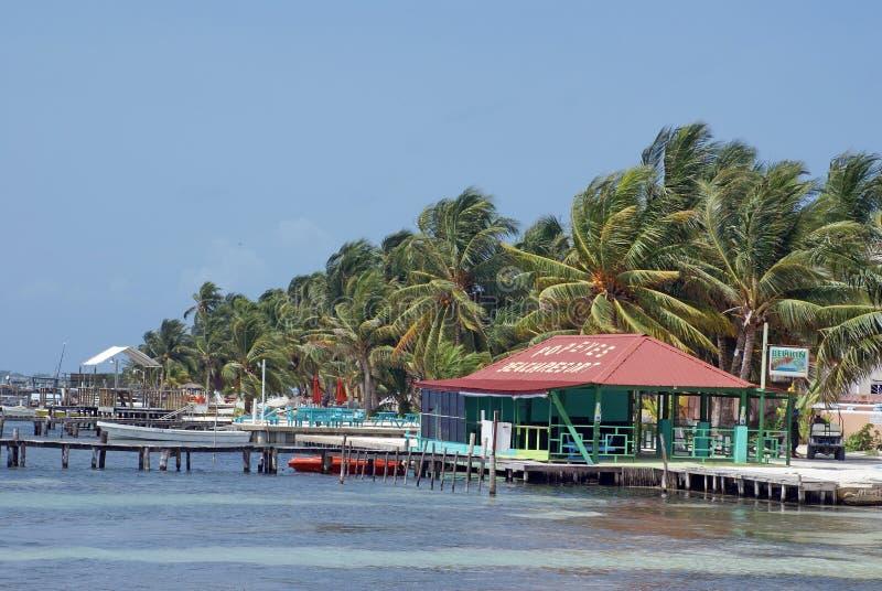 Embarcaderos en la costa del calafate de Caye foto de archivo