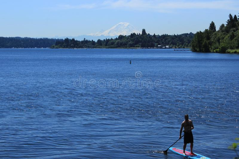 Embarque de la paleta del hombre en el lago Washington foto de archivo