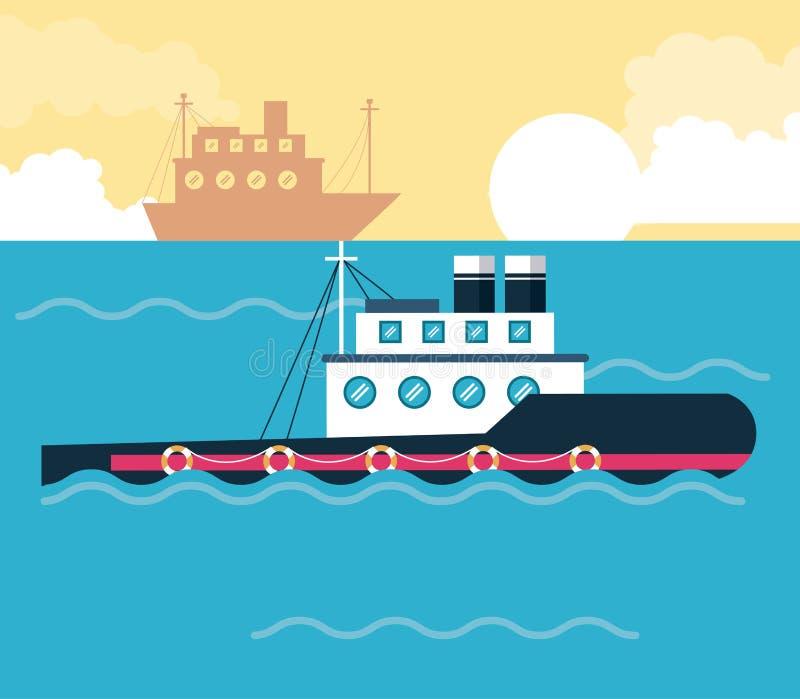 Embarque des bateaux en mer illustration de vecteur