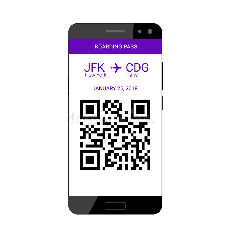 Embarque documento encendido smartphone stock de ilustración