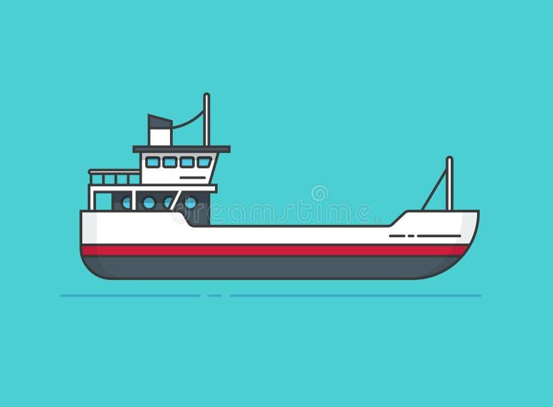 Embarquez l'illustration de vecteur, ligne bateau d'ensemble, conception plate de bande dessinée de petit navire vide illustration stock