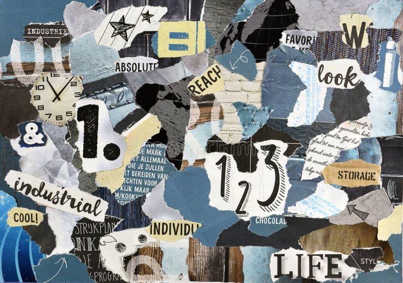 Embarquez la feuille de collage faite de papier déchiré de magazine photos stock
