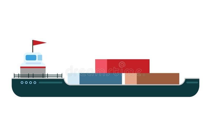 Embarquez la navigation maritime de voyage de véhicule de voilier de transporteur d'expédition de silhouette de bateau-citerne d' illustration stock