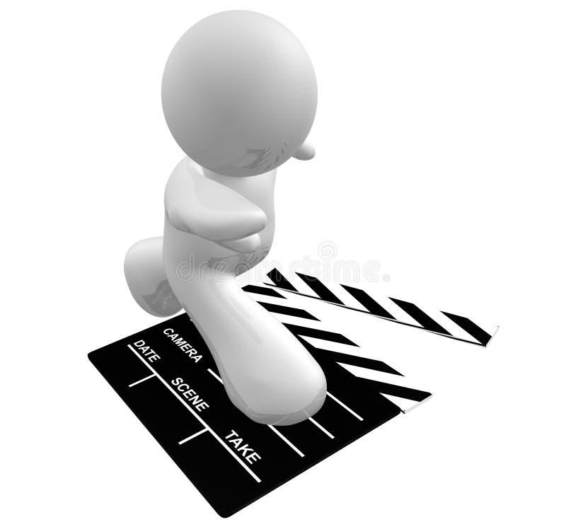 embarquez le blanc de scène de graphisme de fixation de type de film de tape illustration libre de droits