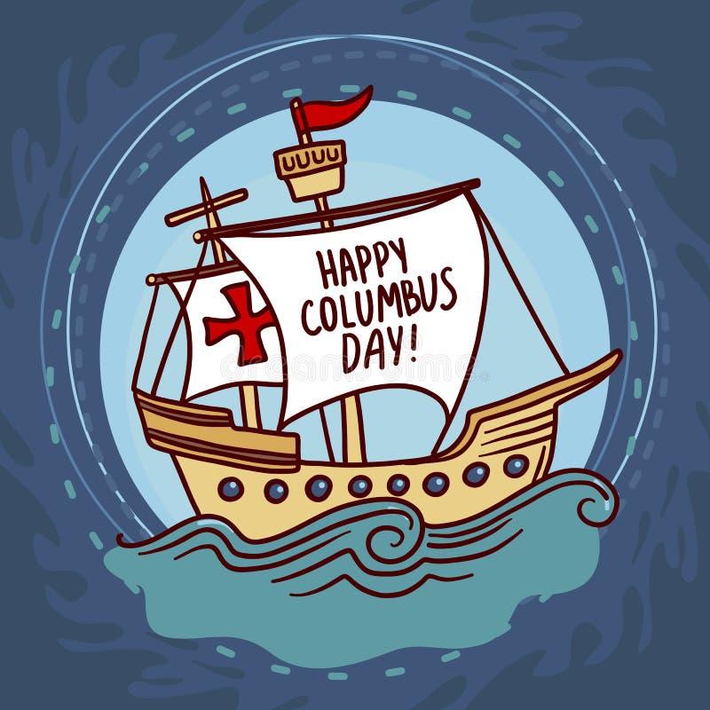 Embarquez le fond de concept de jour de Columbus, style tiré par la main illustration stock