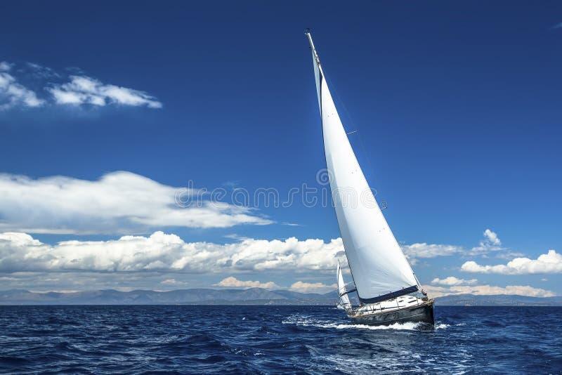 Embarquez les yachts avec les voiles blanches en mer ouverte Bateaux de luxe image libre de droits