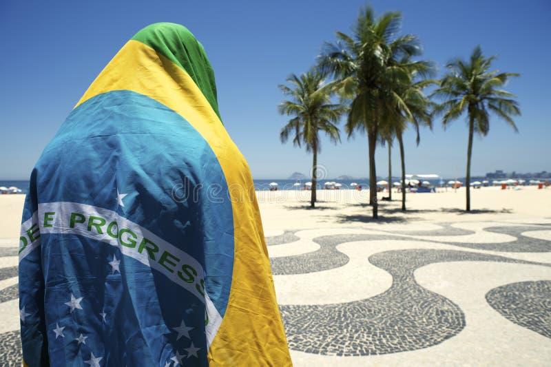 Embarrassed Brazilian Wearing Flag Copacabana Rio de Janeiro stock image