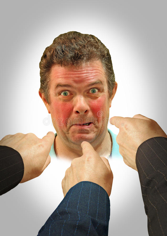 Free Embarrassed Red Face Fingers Of Blame Royalty Free Stock Photo - 45389075