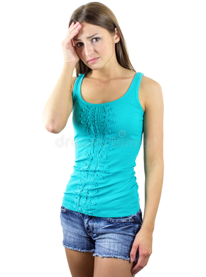 Embarrassed young woman royalty free stock image