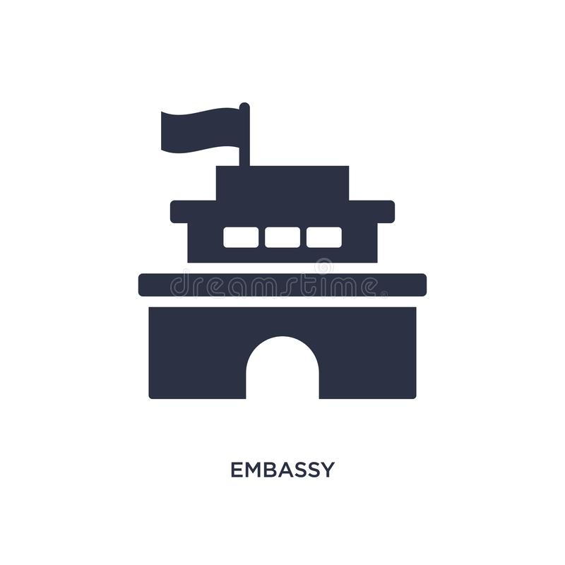 embassy icon on white background. Simple element illustration from buildings concept stock illustration