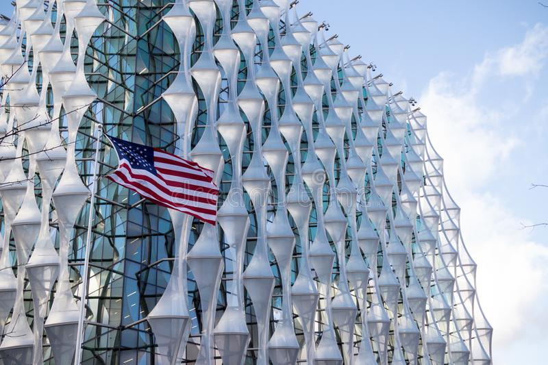 The Embassy of The United States of America in London. London, 18th January 2018:- The Embassy of the United States of America, located at 33 Nine Elms Lane royalty free stock image