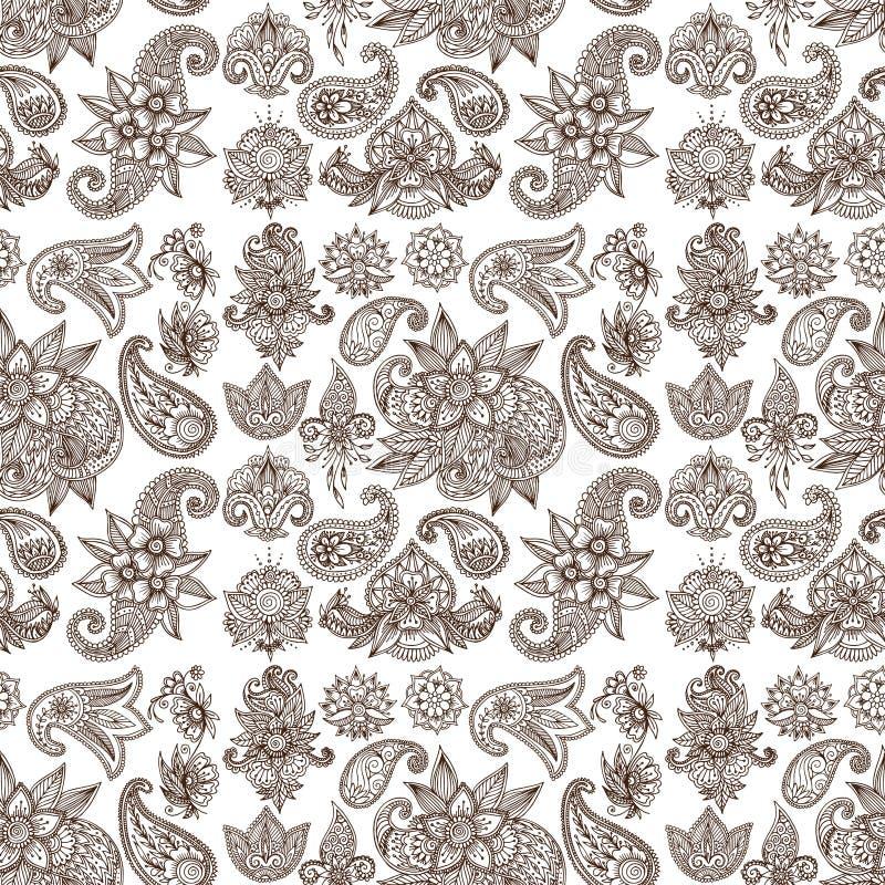 Embellissement indien décoratif ornemental de mhendi d'arabesque de Paisley de modèle de conception de griffonnage de fleur de me illustration stock
