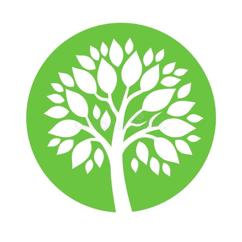 Embema rond abstrait de vecteur - arbre symbolique illustration libre de droits