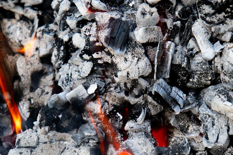Ember with fire and ash royalty free stock photo