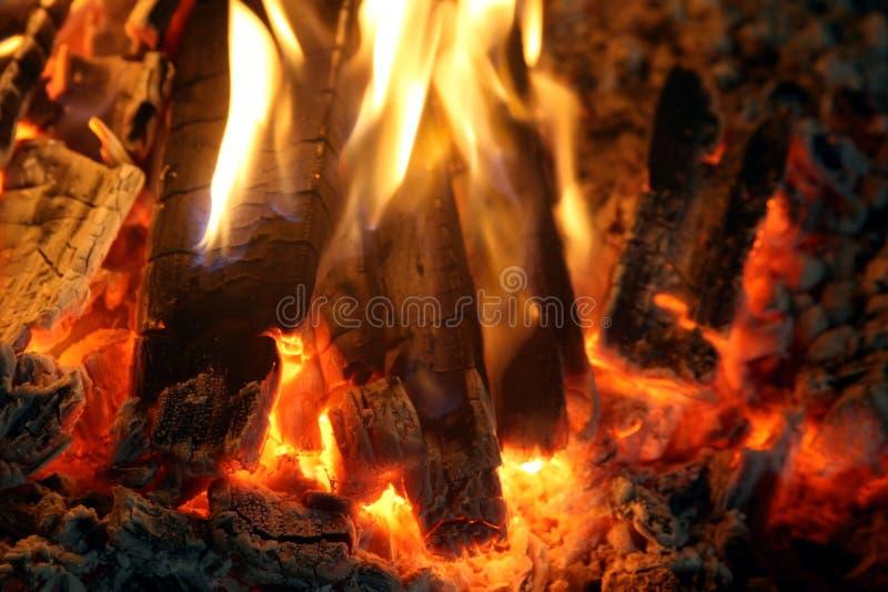 Embers del fuoco dell'accampamento fotografie stock libere da diritti
