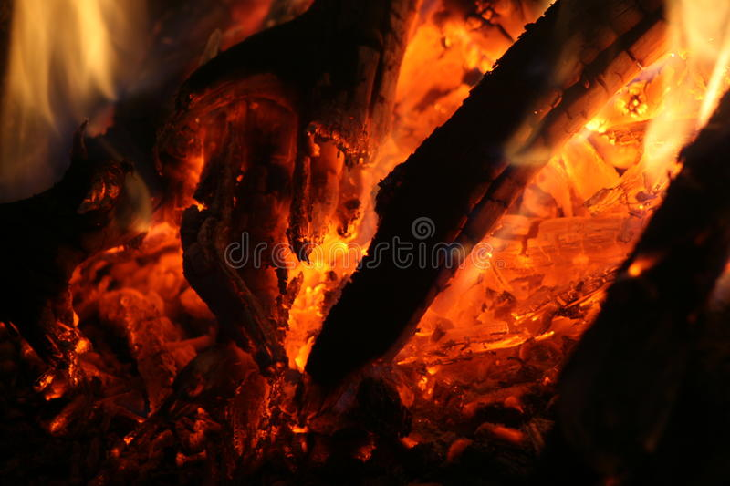 Embers glowing. In a wooden fire, ready for a braai, at Klipkraal Self Catering Guestfarm, South Africa on April, 2015 royalty free stock image