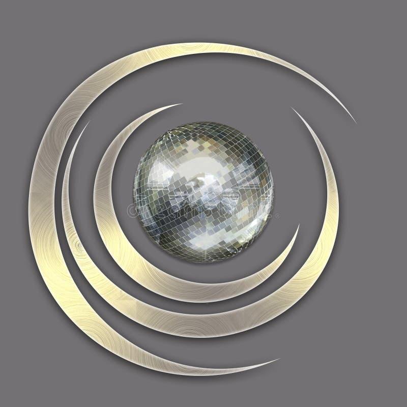 Emblème abstrait - boule de miroir illustration de vecteur