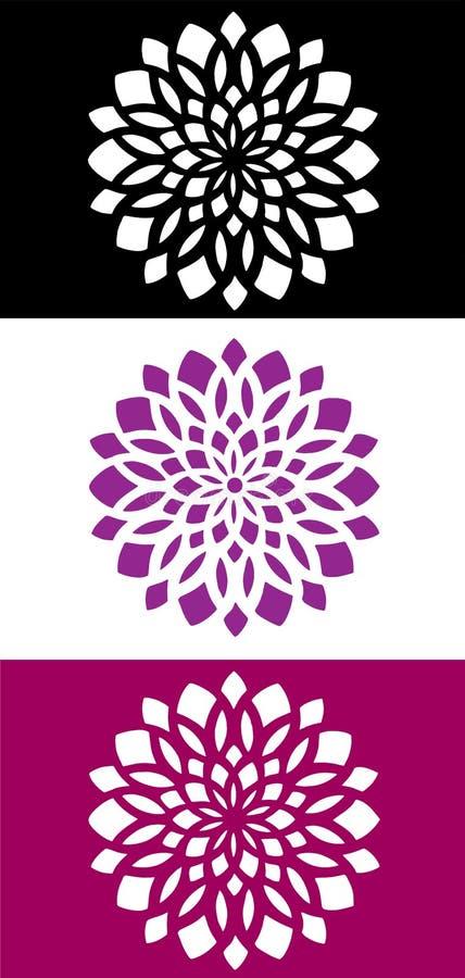 Emblème abstrait d'icône de logo de fleur de mandala illustration libre de droits