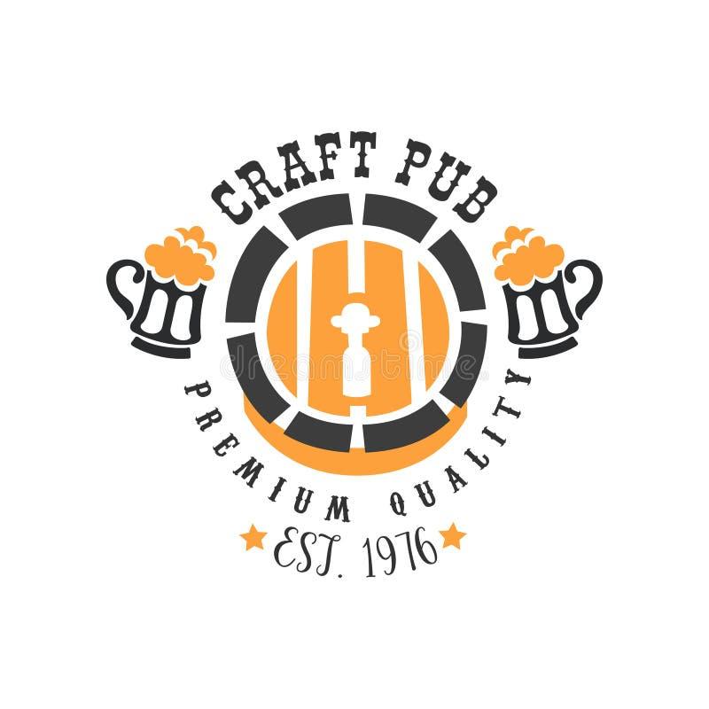 Emblème abstrait de vecteur avec le baril de bière et tasses avec la mousse Couleurs noires et oranges élégantes Conception origi illustration de vecteur