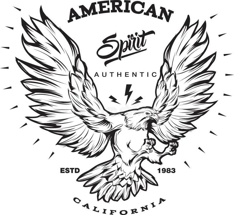 Emblème américain de monochrome d'esprit illustration libre de droits