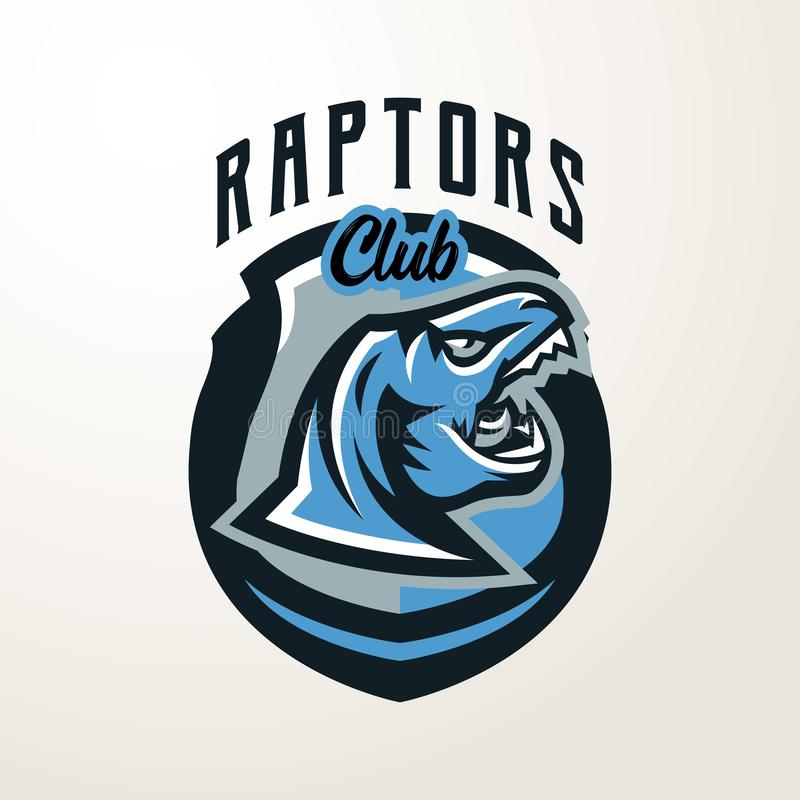 Emblème, autocollant, insigne, logo principal de dinosaure Prédateur jurassique, une bête dangereuse, un animal éteint, une masco illustration de vecteur