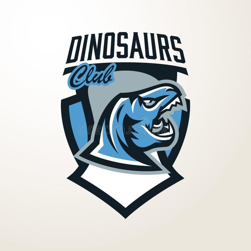 Emblème, autocollant, insigne, logo principal de dinosaure Prédateur jurassique, une bête dangereuse, un animal éteint, une masco illustration libre de droits