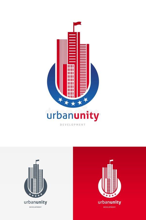 Emblème avec des gratte-ciel illustration de vecteur