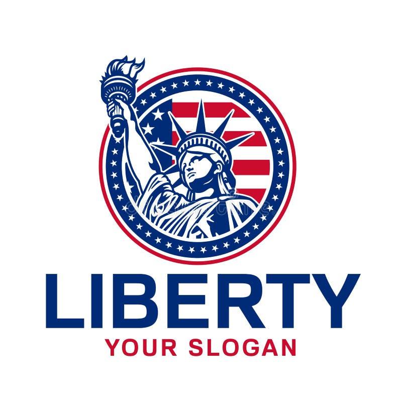 Emblème avec la statue de la liberté illustration stock