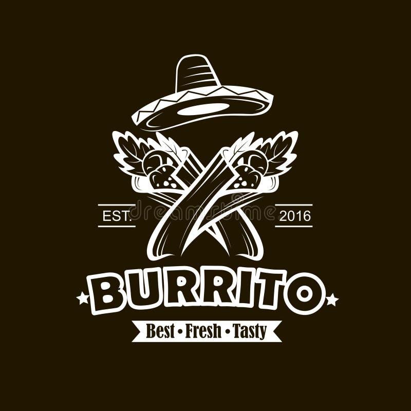 Emblème avec le burrito illustration libre de droits