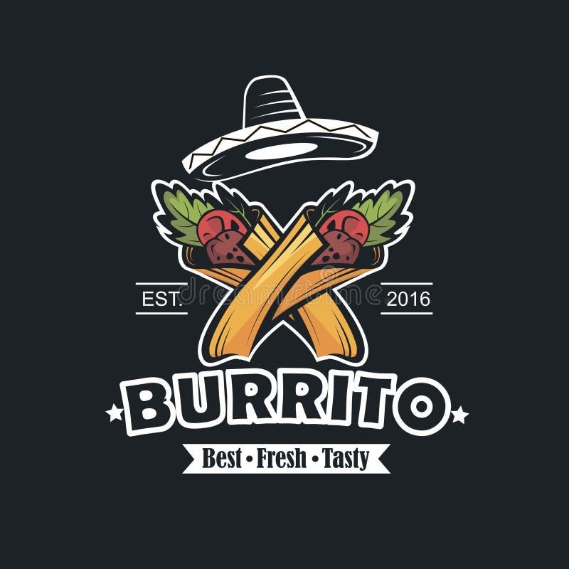 Emblème avec le burrito illustration stock