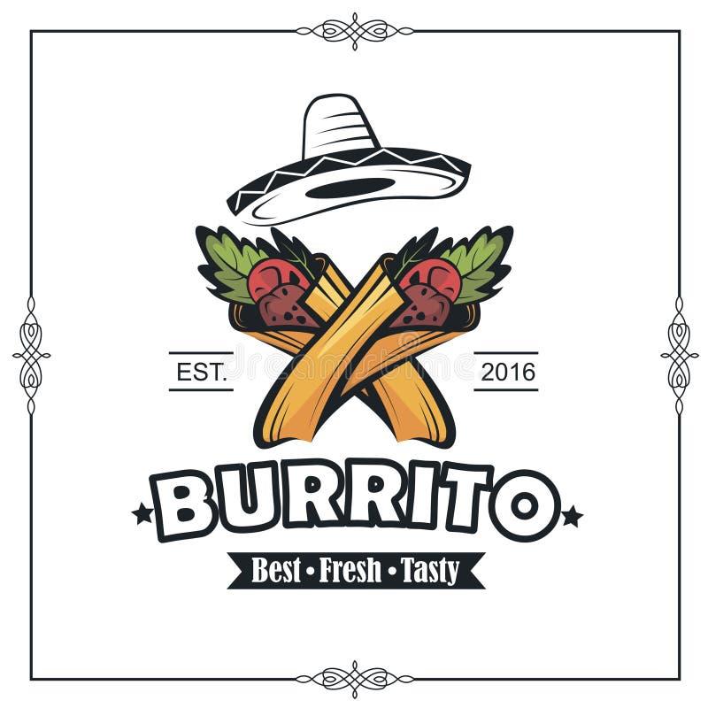 Emblème avec le burrito illustration de vecteur