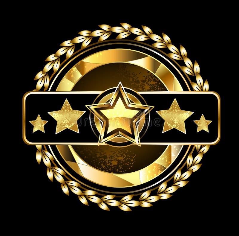 Emblème avec les étoiles d'or illustration de vecteur