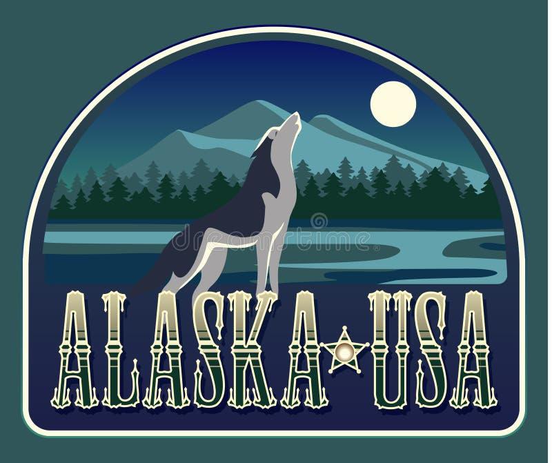 Emblème avec un loup d'hurlement dans le nord sauvage illustration libre de droits