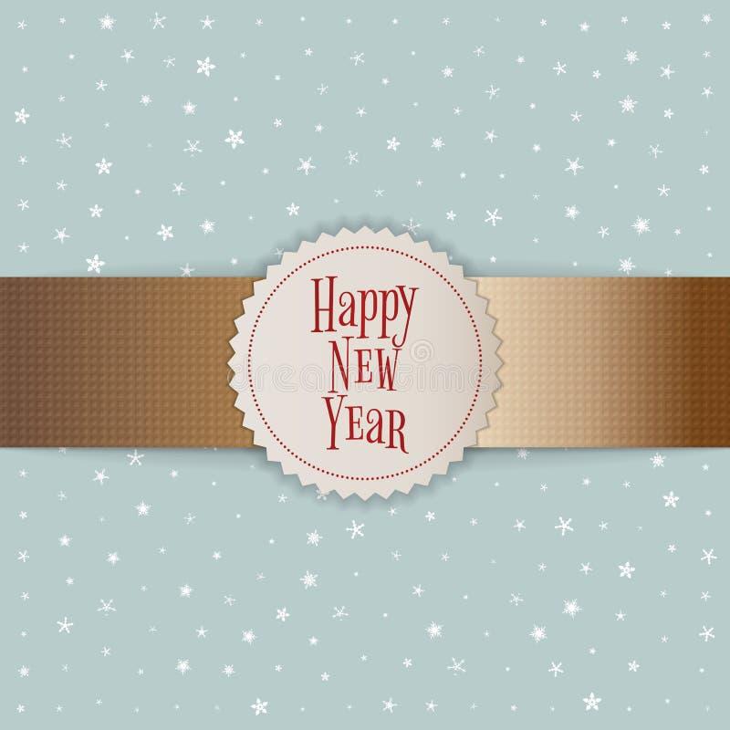 Emblème blanc de bonne année sur le ruban d'or illustration libre de droits