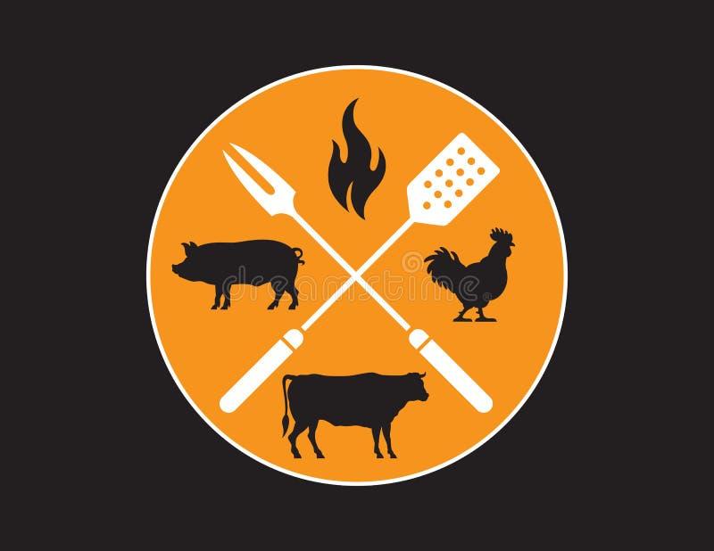 Emblème circulaire de barbecue ou de griller illustration libre de droits