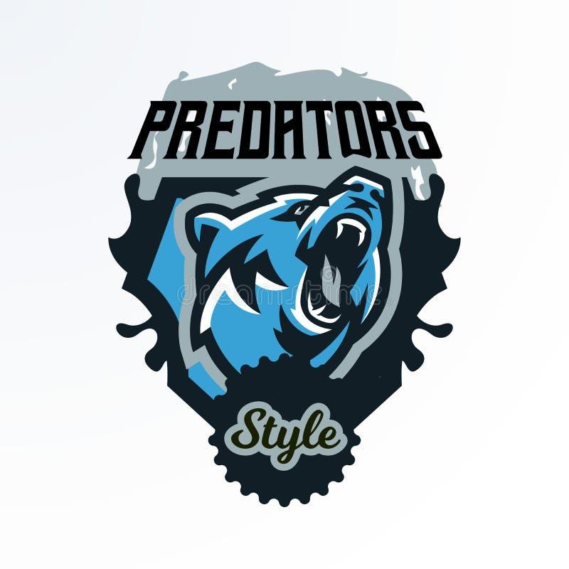 Emblème coloré, insigne, rondin d'un ours de grognement Prédateur dangereux, un animal de la forêt, imprimant sur le T-shirts illustration de vecteur