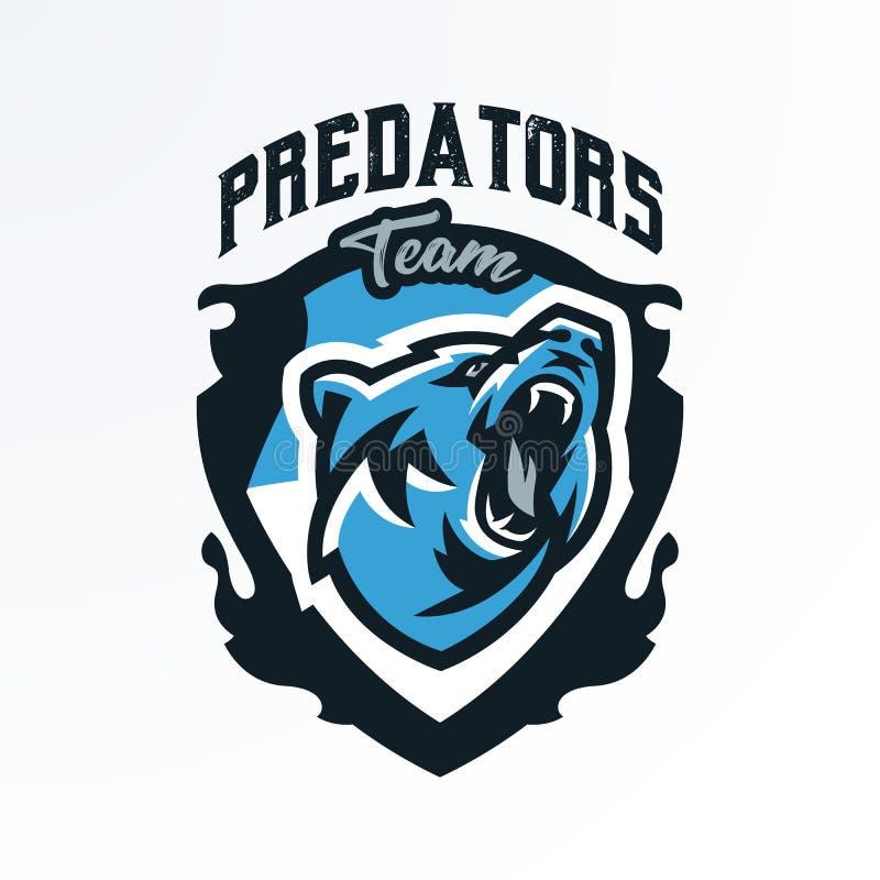 Emblème coloré, insigne, rondin d'un ours de grognement Prédateur dangereux, un animal de la forêt, imprimant sur le T-shirts photo stock