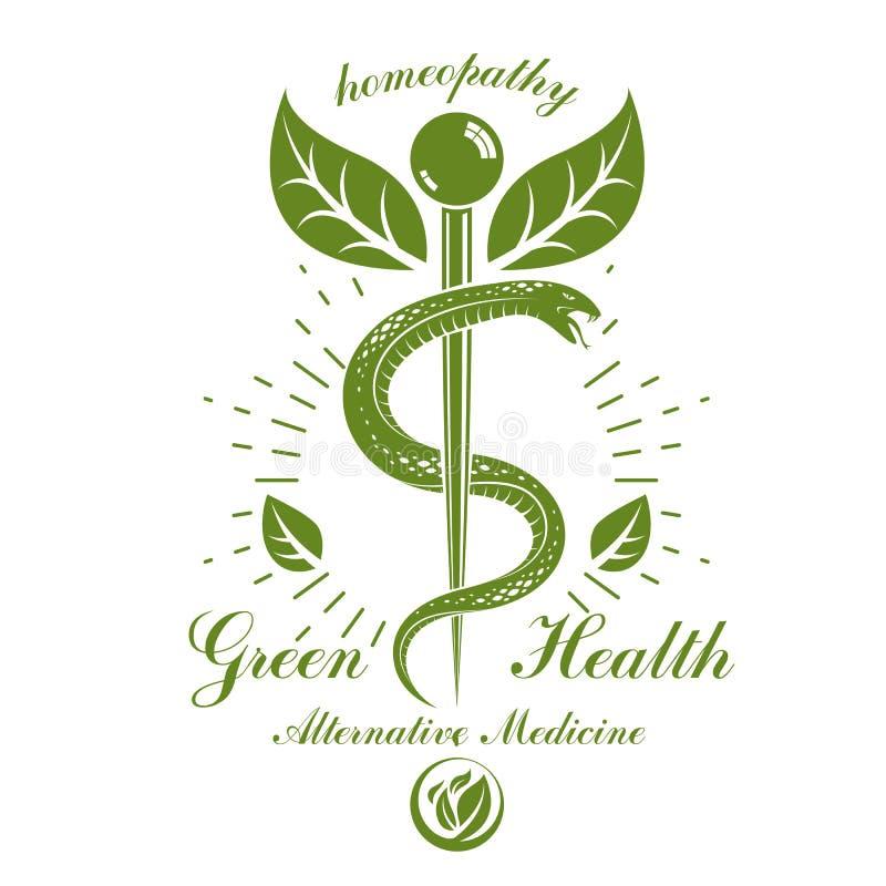 Emblème conceptuel de vecteur de caducée créé avec des serpents et des feuilles de vert Bien-être et métaphore d'harmonie Médecin illustration de vecteur